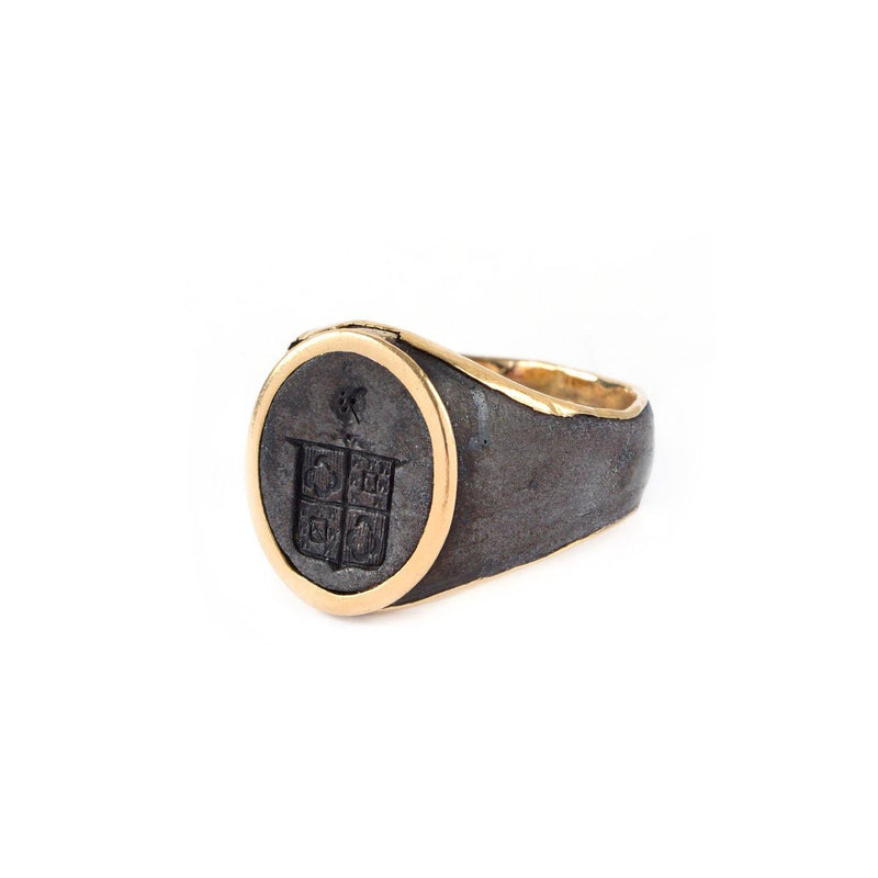 Victorian Crest Insignia Signet Ring - Berlin Gold - Twain Time, Inc.
