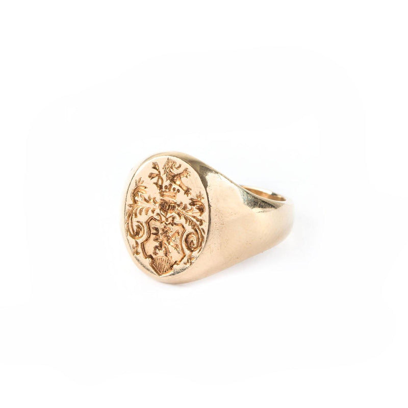 Tiffany 14K Yellow Gold Signet Ring with Crest Intaglio - Twain Time, Inc.