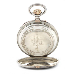 Patek Philippe Openface Pocket Watch Chronometro Gondolo Silver & 18K Rose Gold - Twain Time, Inc.