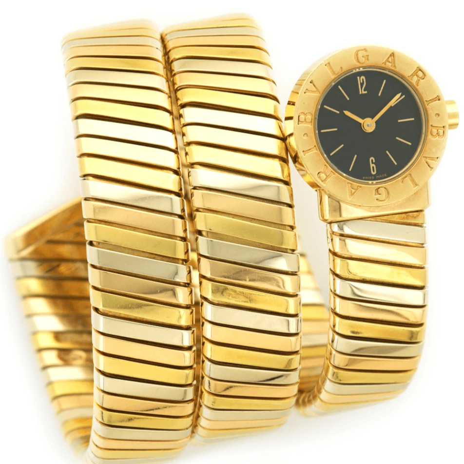 Bulgari 18K Tri-Color Gold Serpenti Tubogas Quartz Cuff Watch