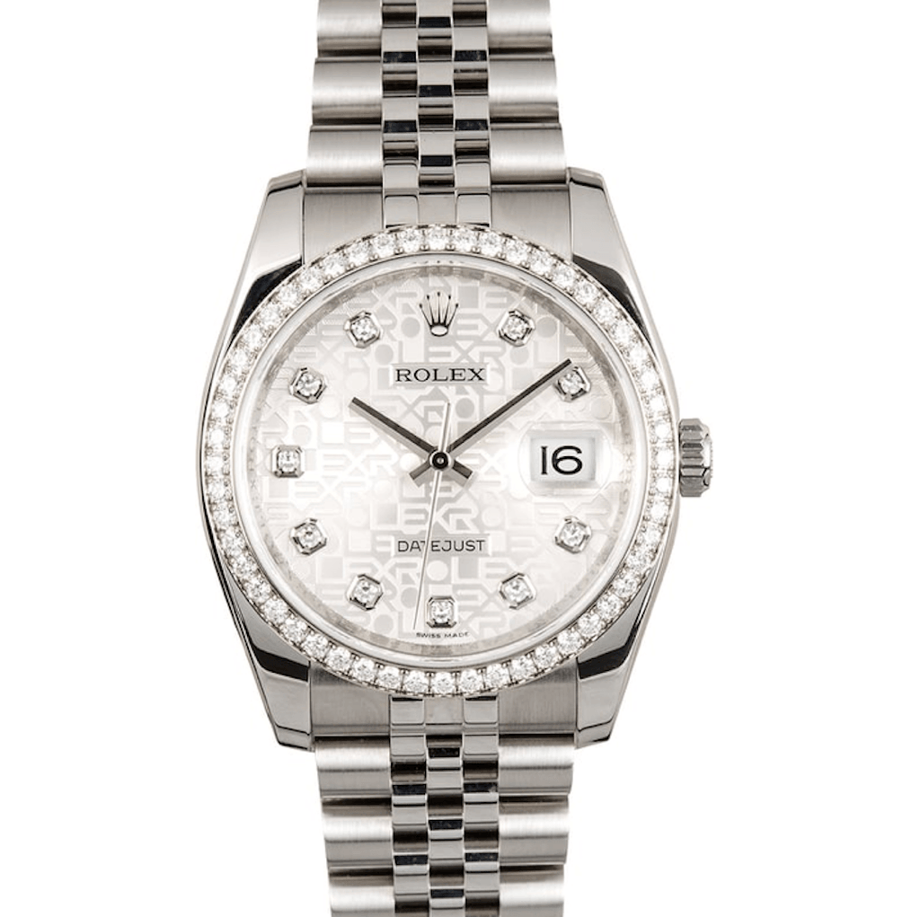 Rolex Datejust Stainless Steel Diamond Bezel Jubilee Bracelet  Ref. 116244 - Twain Time, Inc.