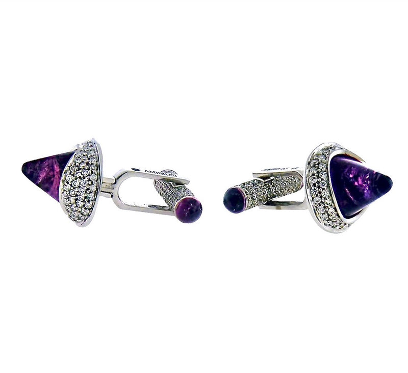 Unique Diamond and Rubelite Tourmaline 18K White Gold Cufflinks By Italian Designer Ambrosi - Twain Time, Inc.