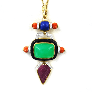 David Webb Chrysoprase Coral Lapis Lazuli Ruby Diamond Pendant Pin - Twain Time, Inc.