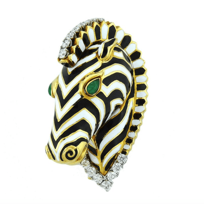 David Webb Enamel Emerald Diamond 18K Yellow Gold & Platinum Zebra Brooch - Twain Time, Inc.