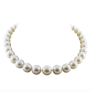 AAA South Sea White Pearl Necklace with Diamond 18K White Gold - Twain Time, Inc.
