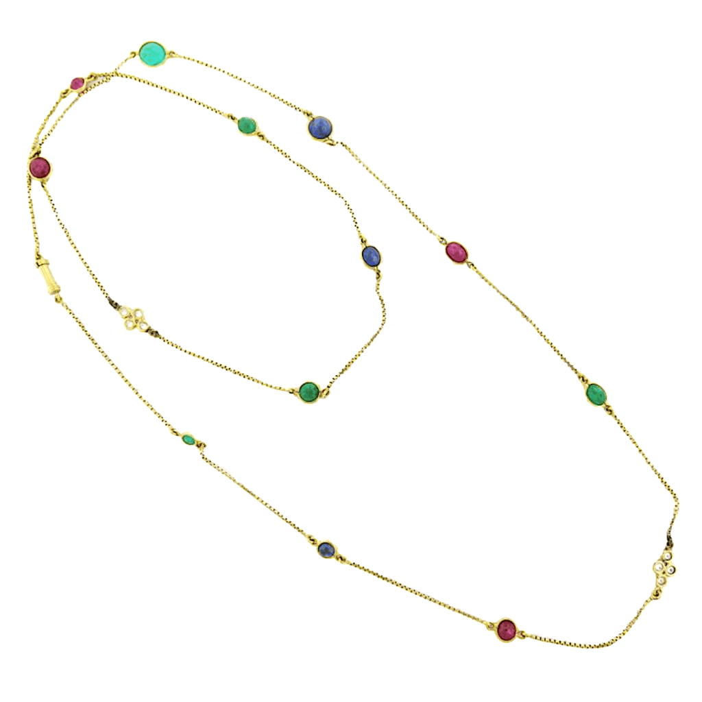 David Webb Multi-Gem And 18K Yellow Gold Necklace | Twain Time
