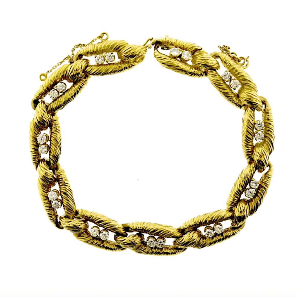 Cartier 18K Yellow Gold And Diamond Link Bracelet By Cartier Paris Circa 1970