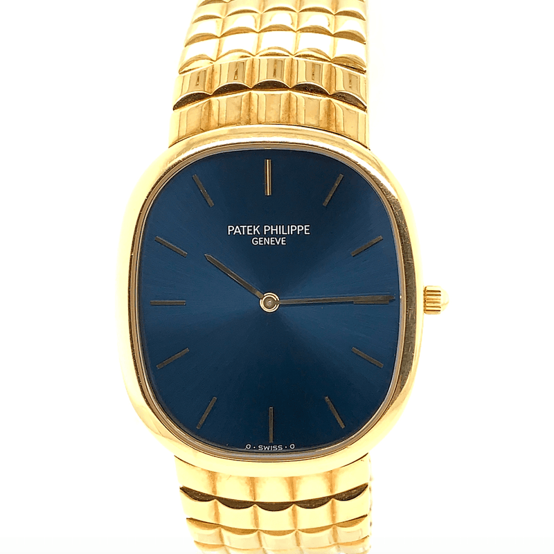 Patek Philippe Ellipse 18K Yellow Gold Sunburst Blue Dial Ref. 3738J