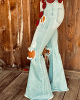 The Happy Trails Light Denim Bell Bottoms