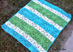 Crochet Summer Blanket - Blue, White, Green