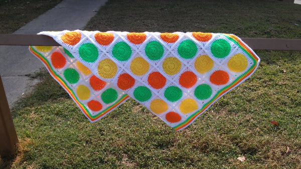Granny Square Retro Crochet Blanket (Lime Green, Orange, Yellow)