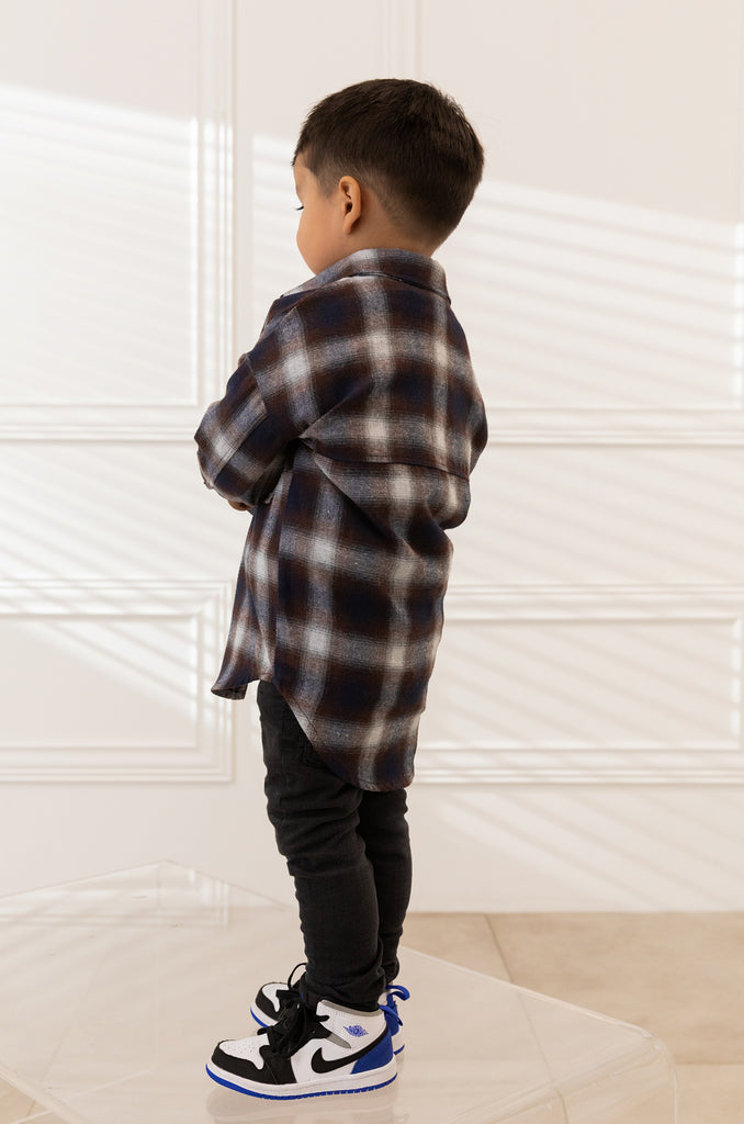 Mini Chill With Me Flannel - Navy