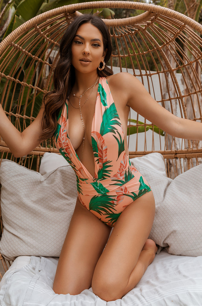 Tropical Vacay Swimsuit - Peach