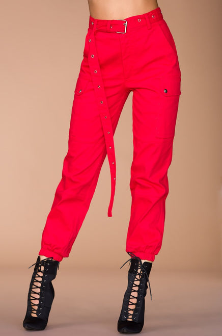 Style & Go Cargo Pant - Red