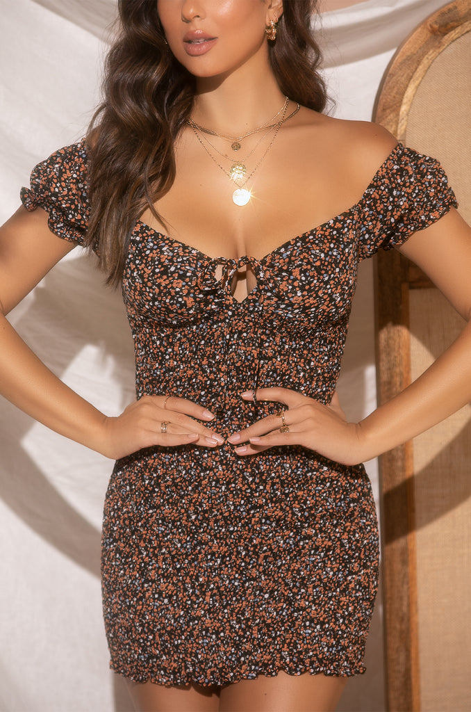 Love Swept Dress - Orange Floral