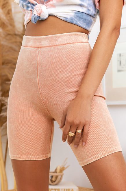 Good Vibes Only Biker Short - Peach
