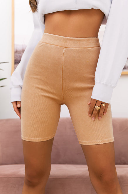 Good Vibes Only Biker Short - Nude
