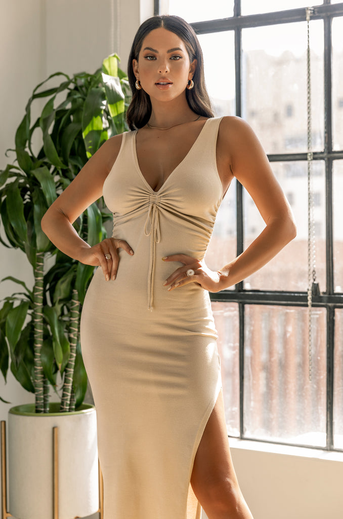 Keep Me Company Dress - Nude