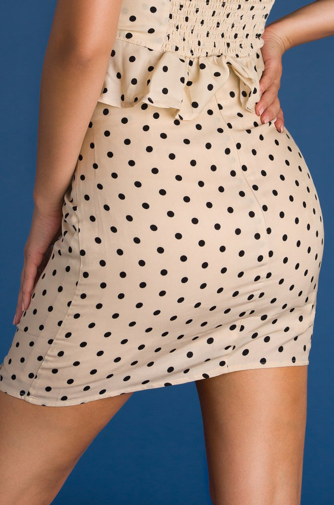 Love You Longer Skirt - Taupe Polka Dot