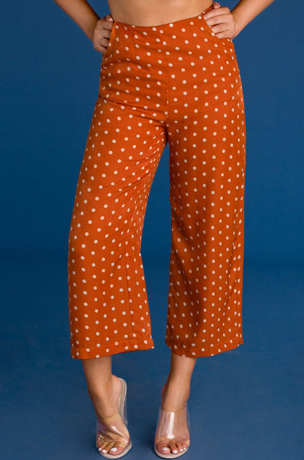 Walk in the Park Pant - Rust Polk Dot