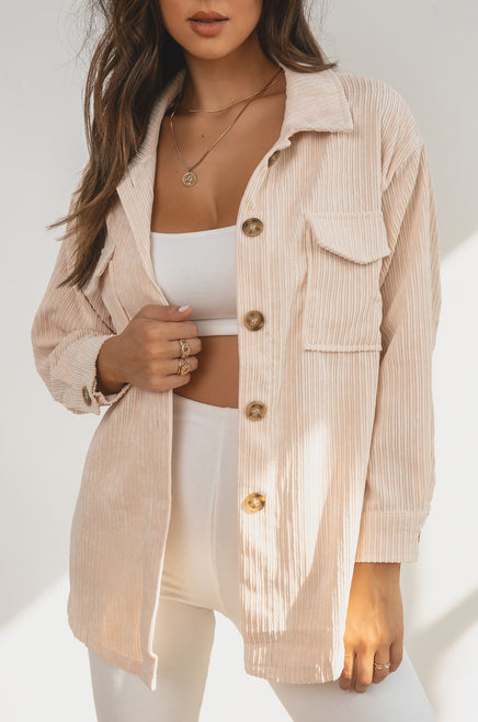 Milan Oversized Shacket - Nude