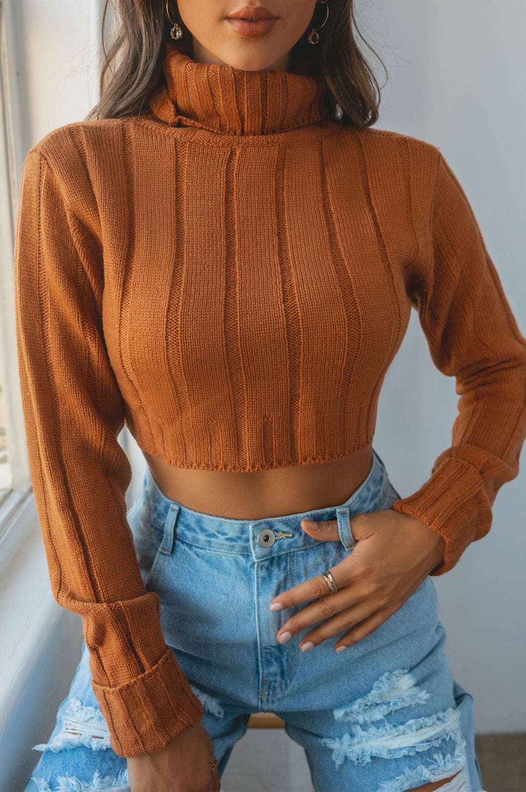 Forever Loyal Cropped Sweater - Rust