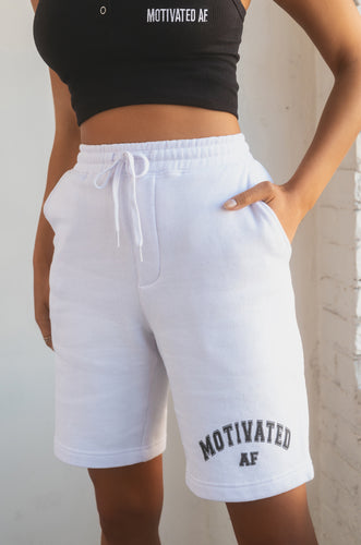 Motivated AF Varsity Short - White