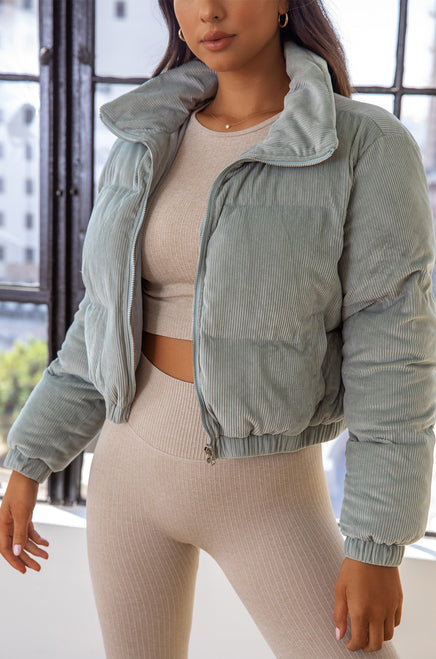 Chilly weekend Puffer Jacket - Sage