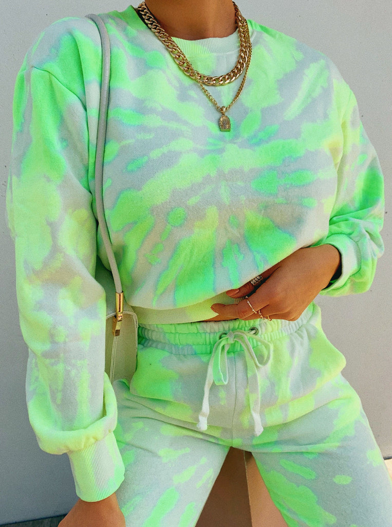 All The Vibes Crewneck Top - Neon Tie Dye 12