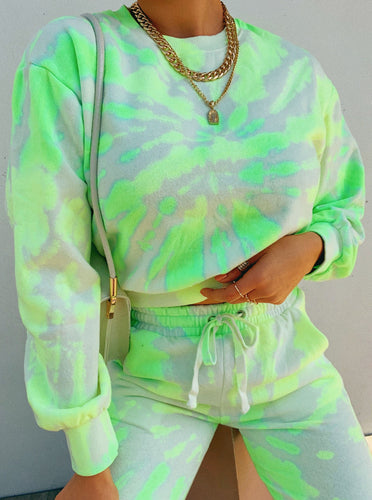 All The Vibes Crewneck Top - Neon Tie Dye