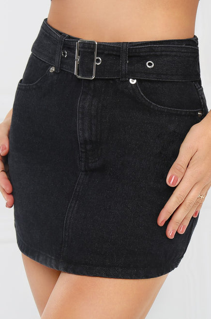 Far Out Denim Skirt - Black