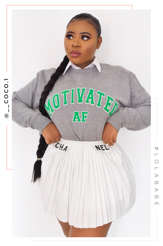 Motivated AF Varsity Crewneck - Heather Grey