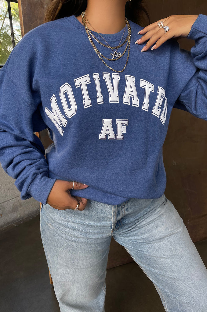 Motivated AF Varsity Crewneck - Heather Blue