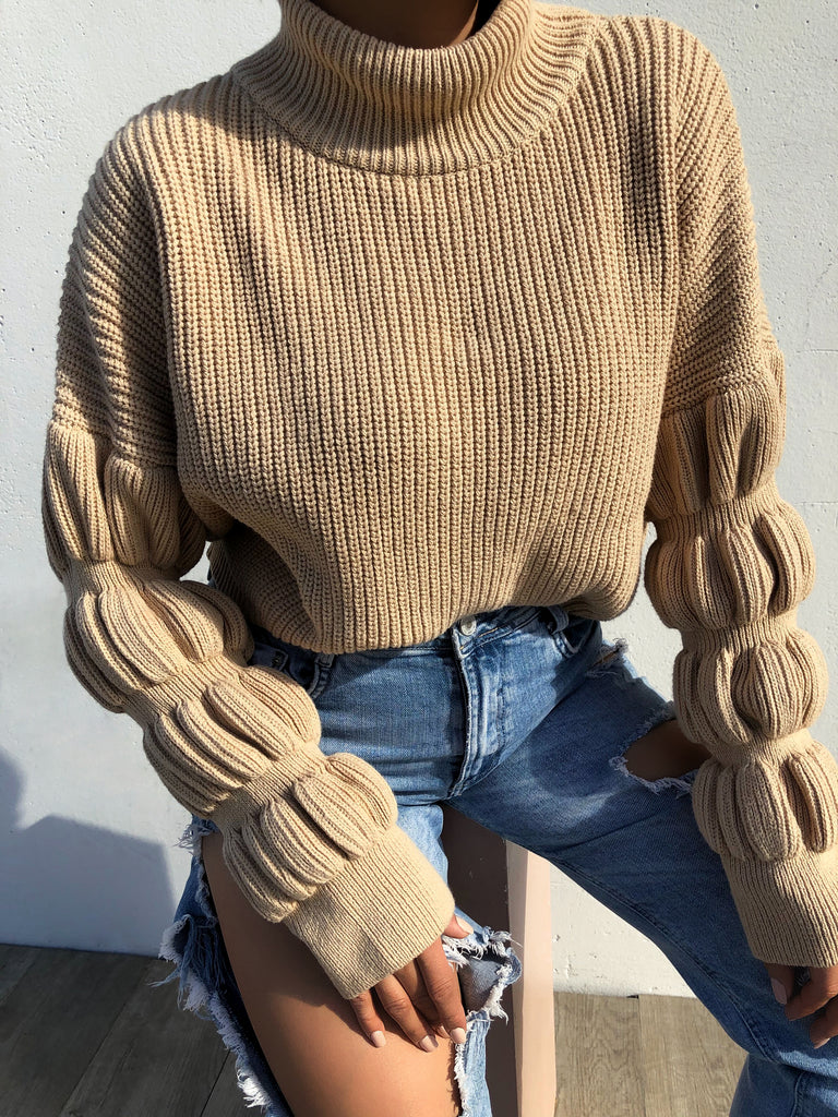 Deeper Love Crop Sweater - Nude