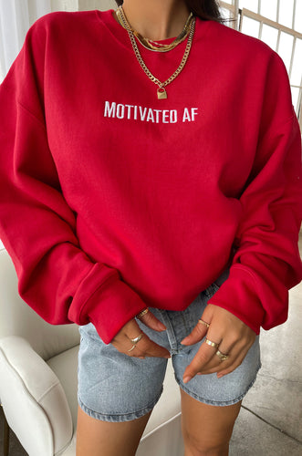 Motivated AF Crewneck - Red
