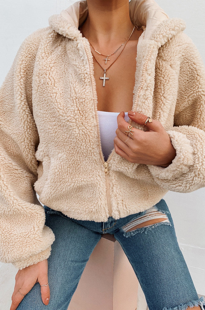 Warm Winters Teddy Jacket - Nude