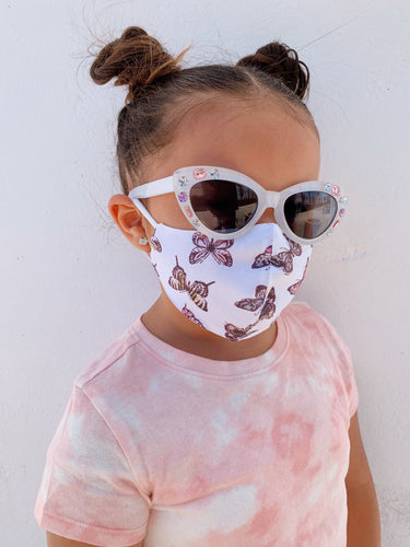 Social Butterfly Kids Face Mask - White