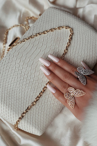 Slip Away Clutch - Ivory Snake