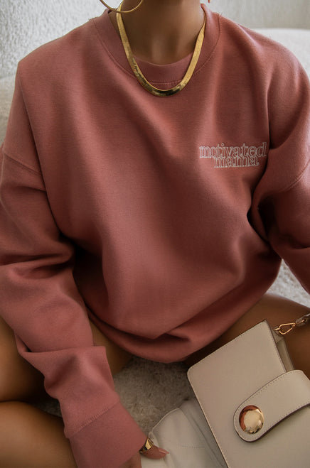 Motivated Mama Crewneck - Mauve