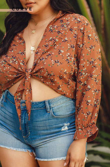 Let's Vacay Top - Rust Floral