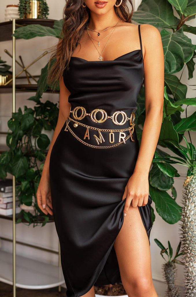 Golden Riviera Dress - Black