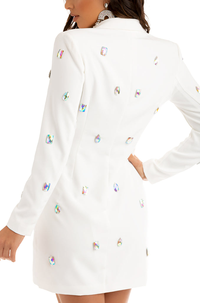 Boss Babe Blazer Dress - White
