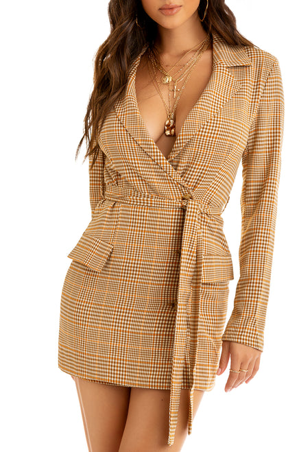 A Whole Vibe Blazer Dress - Nude