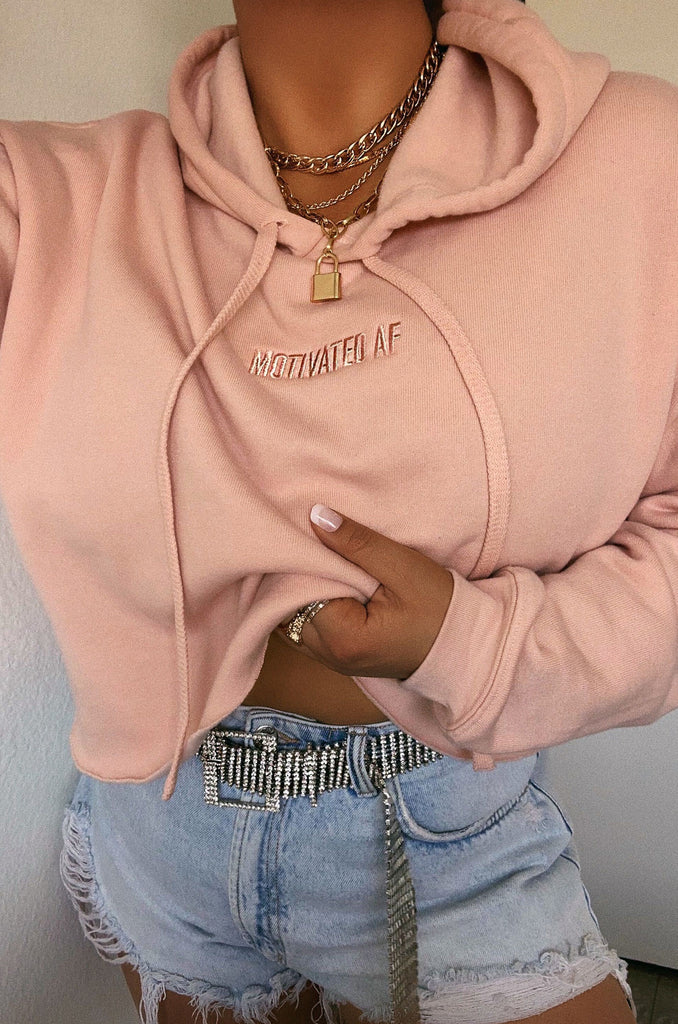 Motivated AF Cropped Hoodie - Blush 1