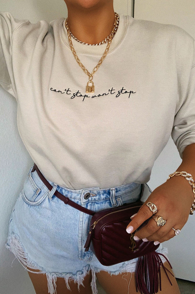 Can't Stop Won't Stop Crewneck - Nude