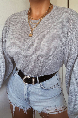 Easy Like Sunday Top - Grey