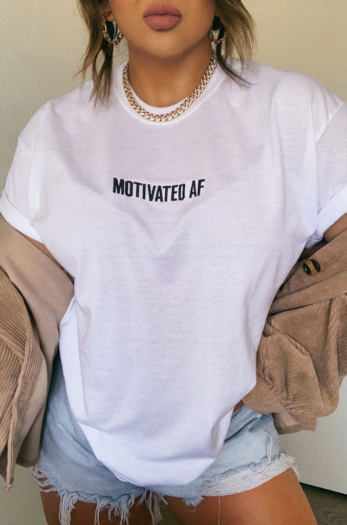 Motivated AF Tee - White 12