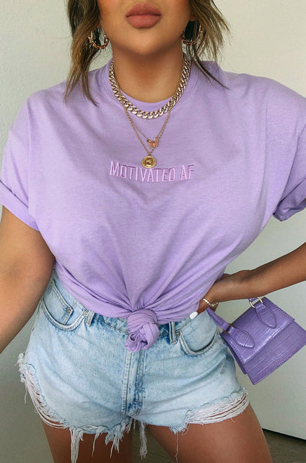 Motivated AF Tee - Lilac