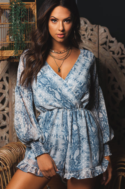 Sweet Poison Romper - Blue Snake
