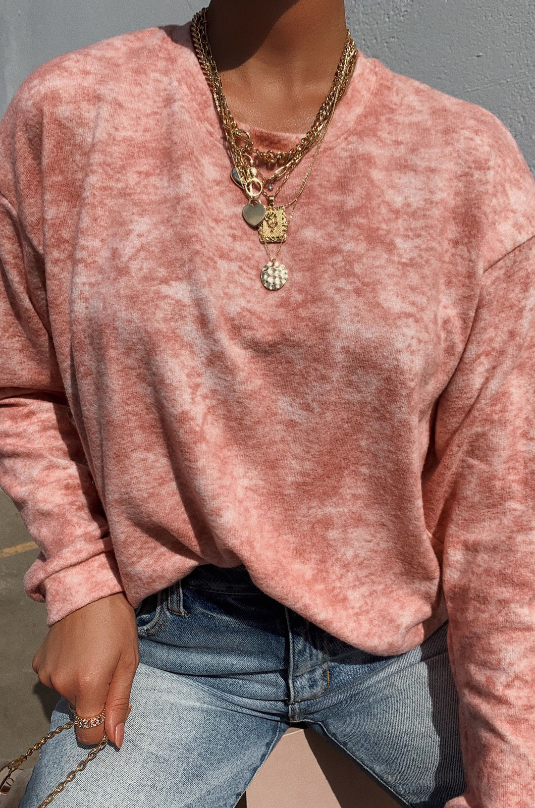 Weekend Feelz Sweater - Pink